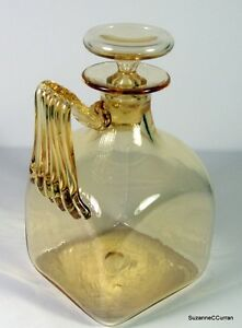 1908-James-Powell-Whitefriars-Amber-Art-Glass-Square-Decanter-Pattern-2091