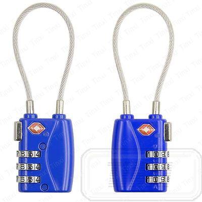 TSA Luggage Suitcase Security Travel Cable Lock Padlock 3 Digit Combination Blue