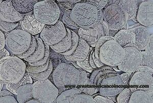 LOT-OF-100-SHINY-SILVER-TOY-PIRATE-TREASURE-COINS-ATOCAH-DOUBLOONS