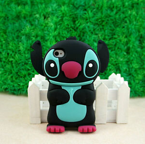 Stitch-3D-Silicone-Silicone-Soft-Cover-Back-Case-for-iPhone-4-4G-4S-Black-ST07