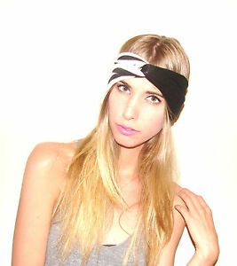 NEW-Black-Striped-and-Solid-TURBAND-Turban-Headband