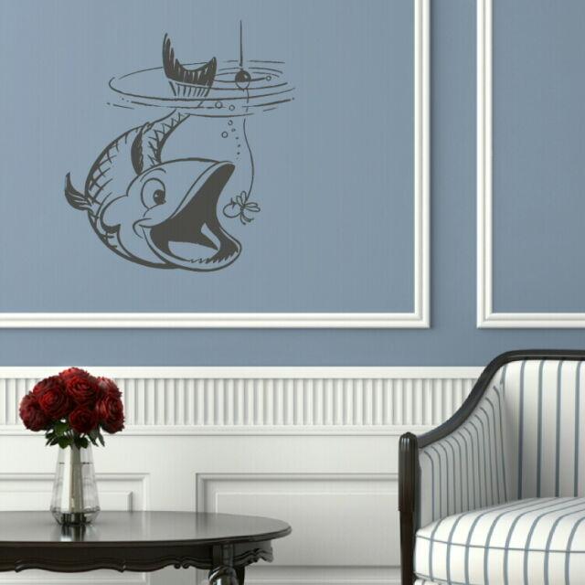 Fish Taking Bate Fish Wall Sticker / Interior Art Decor / Fish Wall Transfer x22