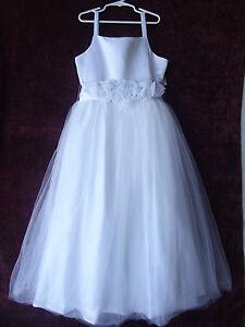 White flower girl 1st communion satin tulle dress size 12 nwt g82348