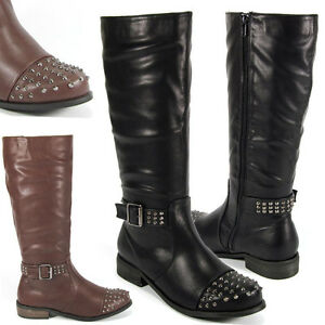 WOMENS-LADIES-KNEE-HIGH-FLAT-LOW-HEEL-BIKER-STUD-STUDDED-BUCKLE-RIDING-BOOTS