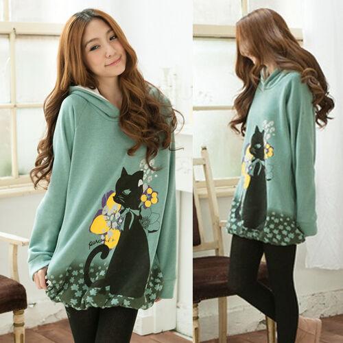 Fashion Womens New Cute Catoon Cat Mid-length Hoodie Hoody Tops Sweatshirt Comfy