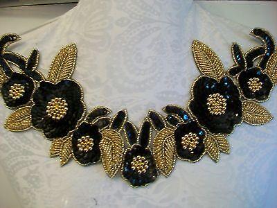 "12"" RAISED BEADING Bead & Sequin Neckline Applique GOLD BLACK  **STUNNING**"