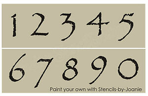 Stencil 2 034 tall primitive numbers country house mail box address