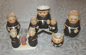 Vintage-W-Germany-Monk-Figures-Set-8-Pcs-FREE-SHIPPING
