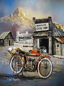 Blaylock-Apache-Indian-Vtg-Motorcyle-TIN-SIGN-Navajo-cycle-shop-bike-decor-1030