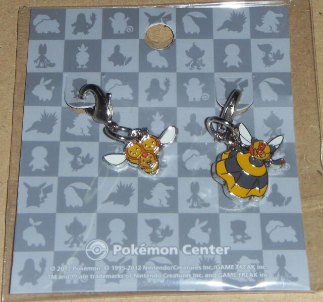 Japanese Pokemon Center Limited Metal Charm Combee Vespiqueen Set