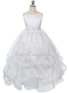New-Girls-White-First-Communion-Dress-Size-5-6-Flower-Girl-Dress-Pageant-Baptism