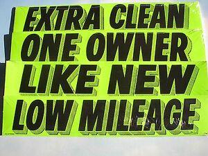 $ CAR DEALER 4 dozen NEW WINDOW ADVERTISE SLOGANS STICKERS green/black~2~