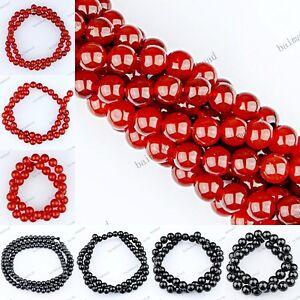 1-STRAND-RED-BLACK-AGATE-CARNELIAN-ONYX-GEMSTONE-ROUND-BALL-LOOSE-BEADS