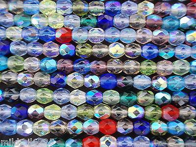 50 4mm Czech Firepolish Beads -- Multi AB Mix