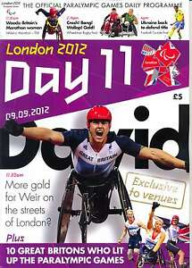PARALYMPIC GAMES DAY 11 ELEVEN DAILY PROGRAMME LONDON 2012