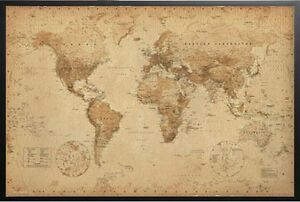 World-Map-Antique-Style-Poster-Print-in-Black-Wood-Frame-24x36