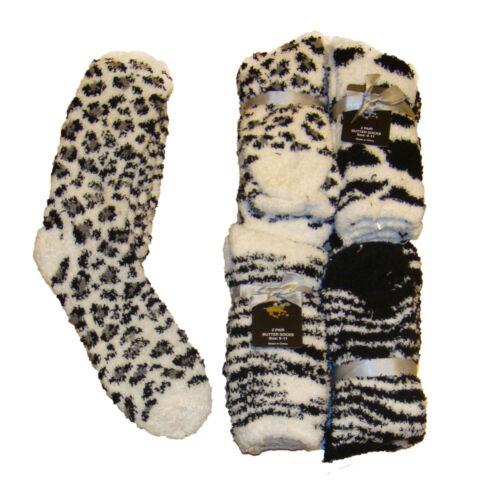 4 PAIRS Leopard,Zebra Fuzzy,Cozy womens socks 9-11 Brown,White//Black,Pink,Blue