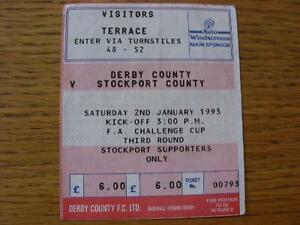02011993 Ticket Derby County v Stockport County FA Cup Creased Item In v - Birmingham, United Kingdom - 02011993 Ticket Derby County v Stockport County FA Cup Creased Item In v - Birmingham, United Kingdom