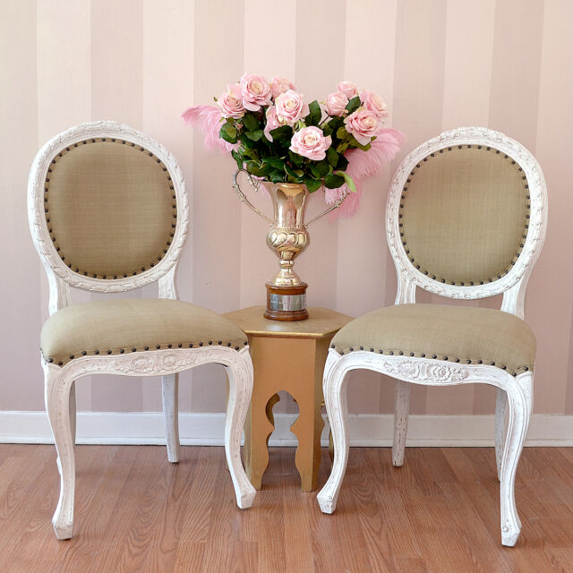 Shabby Cottage Chic Cotton Isabelle French Carved Dining Chair in White