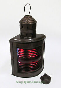 "Ship's Red Port Oil Lantern 14"" Metal Hanging Lamp Nautical Maritime Decor"