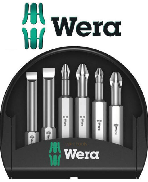 WERA 6 Pce Extra Tough Pozi,Phillips & Slot Screwdriver Bits, 50mm Length,056474