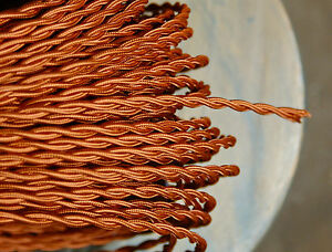Copper Twisted Cloth Covered Wire, Vintage Style Lamp Cord, Antique Lights Rayon