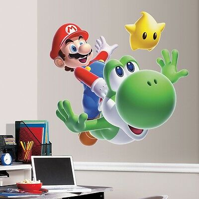 New GIANT SUPER MARIO GALAXY 2 WALL DECALS Yoshi Stickers Nintendo Bedroom Decor