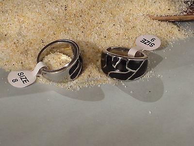 Edelstahring  Ring  Edelstahl cooles Muster  Bandring schwarz Silber Band TE02R