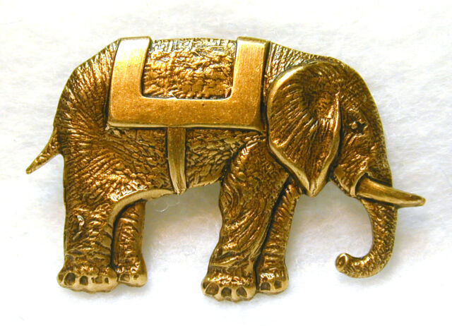 Hand Crafted Brass Elephant Button -  Realistic - FREE US SHIPPING