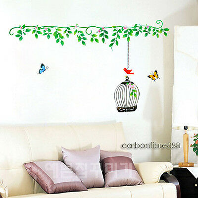 Green Vines Tree & Bird Cage Wall Stickers Art Decal Mural Wallpaper Living Room