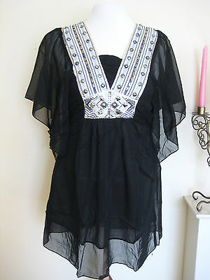 WOMAN EMBELLISHED KAFTAN BLOUSE TOP MINI TUNIC SUN DRESS BEACH PARTY VTG TEA