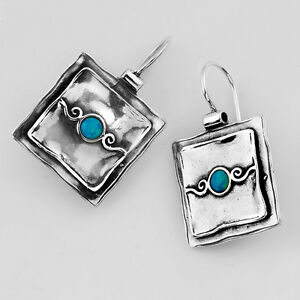 .925 Sterling Silver & BLUE FIRE OPAL HAMMERED SQUARE LAYERED EARRINGS. NEW!