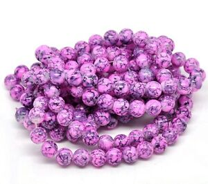 100-x-8mm-Pink-Purple-Mottled-Round-Glass-Marble-Effect-Beads-Beading-T105