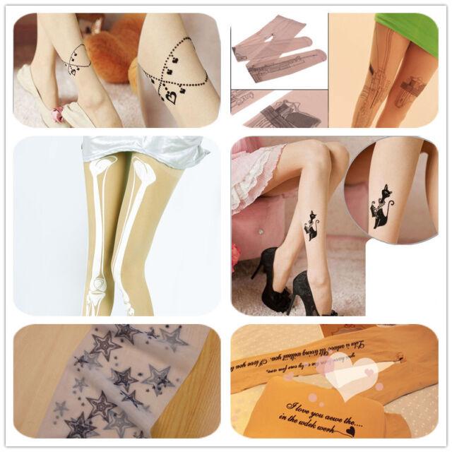 Gun Skeleton Printed Tattoo Socks Lady Transparent Pantyhose Stockings Tights