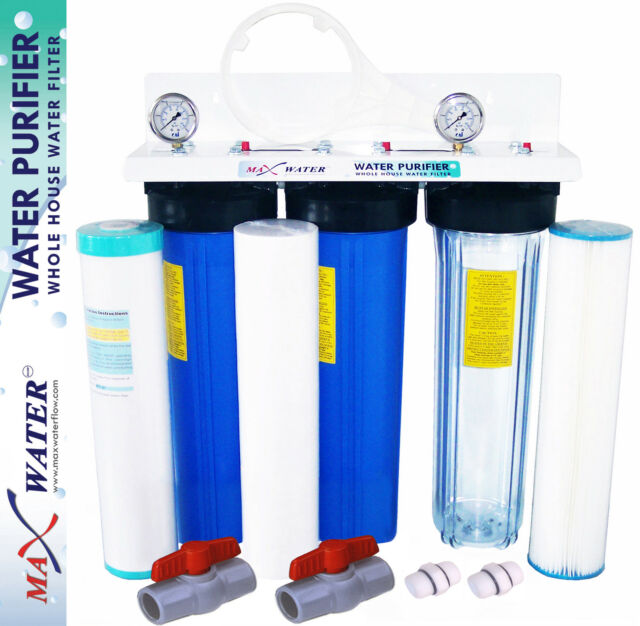 """MAX WATER 3 STAGES 20""""X4.5 BIG BLUE WHOLE HOUSE WATER FILTER SYSTEM WITH GAUGES"""