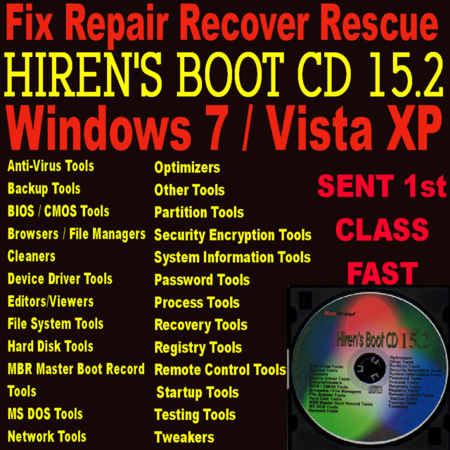 Windows 7 ~ Vista ~ XP Reparatur Diagnose PC Laptop CD Rettung Wiederherstellen