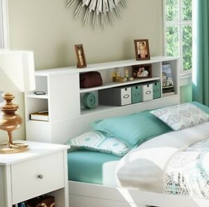 new white wooden bookcase headboard for double size bed frame wood