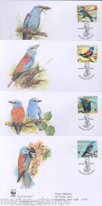 WORLD WILDLIFE FUND 2006 LITHUANIA BIRDS SET OF FOUR FIRST DAY COVERS