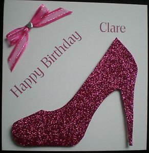 HANDMADE-PERSONALISED-PINK-DESIGNER-SHOE-BIRTHDAY-CARD-18TH-21ST-30-40-50-60