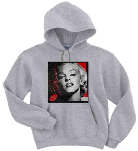 Marilyn Monroe portrait design kiss Black or Gray Hooded Sweatshirt Hoodie
