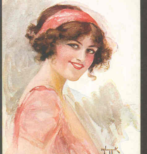 """THE GAIETY GIRL"" ROARING '20'S FLAPPER STYLE GLAMOUR LADY,HAMMICK OLD POSTCARD"