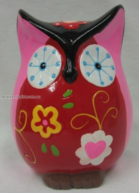 13cm Ceramic Owl Money Box Bank In Pink, Black & Red Colours Makes A Great Gift!
