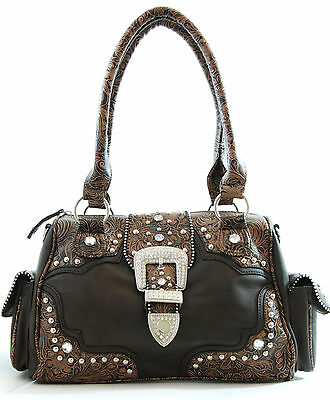 Western Rhinestone BLING Buckle Cowgirl/Rodeo embossed Shoulder-bag - COFFEE