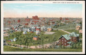 WASHINGTON-PA-Vintage-Birds-Eye-Rooftop-Aerial-View-Postcard-Old-Town-PC