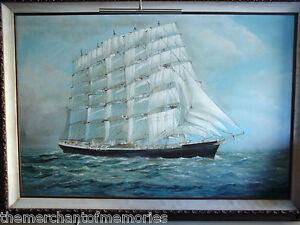 VINTAGE-1890-039-s-Museum-Framed-Oil-Painting-Ship-at-Sea-FREDERICK-FALKNER