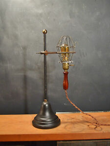 Vintage Antique Industrial Trouble Light With Stand