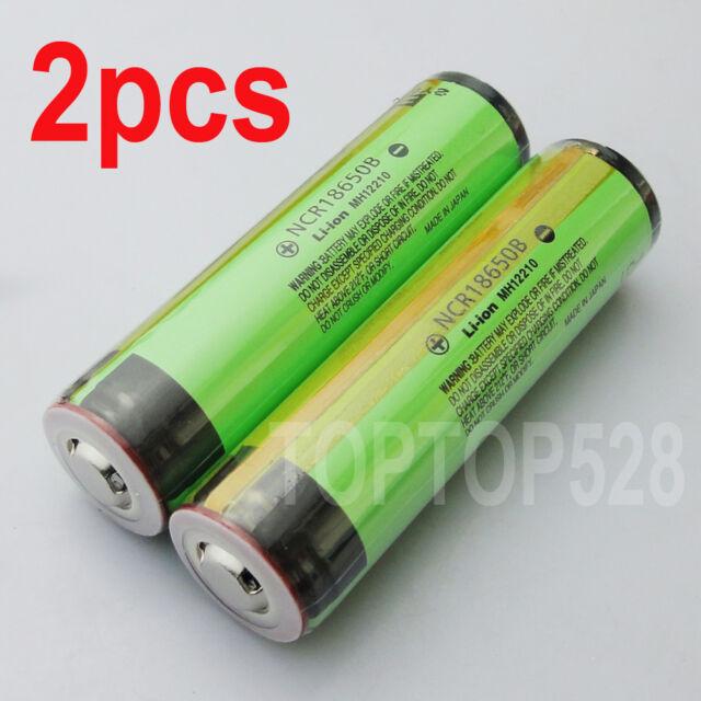 2pcs Protected Panasonic 18650 NCR18650B 3400mAh Rechargeable Battery NEW JAPAN