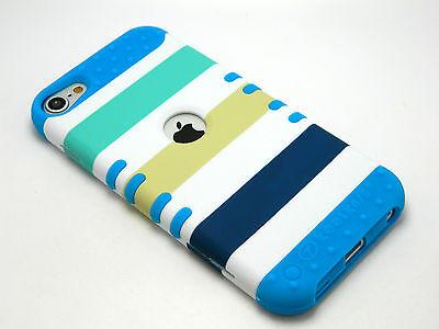 Apple iPod Touch 5 5th Gen Rocker Hybrid Blue Skin+Green Stripes Hard Cover Case