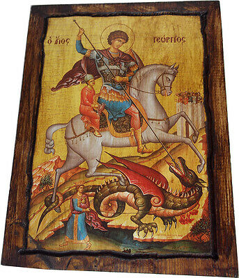 SAINT ST GEORGE - Orthodox Byzantine icon on wood handmade (22cm x 16.5cm)