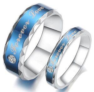 2-Partner-Ringe-Eheringe-Verlobungsringe-Freundschaftsringe-Edelstahl-Zirkonia